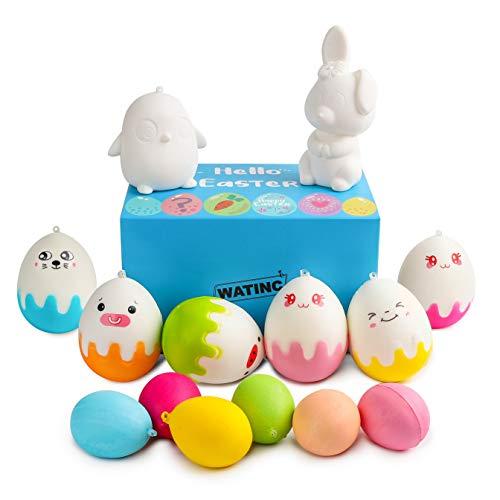 (WATINC 16 Pcs DIY Easter Eggs Squishy Bunny Chicks Medium Soft White Squishy Cream Scented Slow Rising Stress Relief Kawaii Simulation Lovely Toys Key Chains Phone Straps Bonus Emoji)