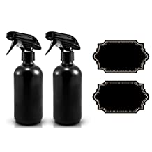 Large 16 oz Black Matte Glass Spray Bottles with Chalkboard Labels (2 Pack), BPA Free for Essential Oils, Aromatherapy and Natural Cleaning Products. Heavy Duty Fine Mist Spray and Stream Trigger Sprayers