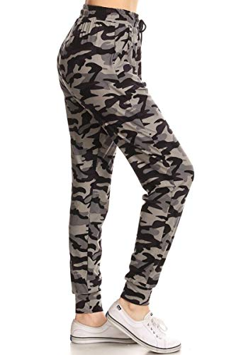 Leggings Depot JGA-S516-XL Army Grey Camo Print Jogger Track Pants w/Pockets, X-Large