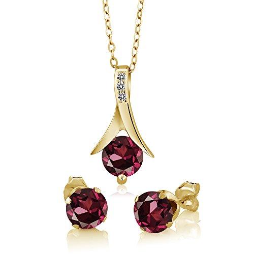 White Loose 18k Gold Diamonds - Gem Stone King 3.05 Ct Rhodolite Garnet White Diamond 18K Yellow Gold Plated Silver Jewelry Set