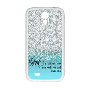 SamSung Galaxy S4 I9500 Case - God Is within Her, She Will Not Fail Psalm 46:5 - Bible Verse Blue Sparkles (Not really Glittery) Pattern SamSung Galaxy S4 I9500 TPU(Laser Technology) Case Cover
