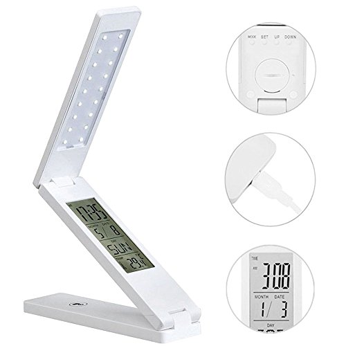 Ledago LED Desk Lamps for Home Usb Charging Port in Base with Alarm Clock Calendar Temperature Display Desk Table Light Hang on Wall for Reading
