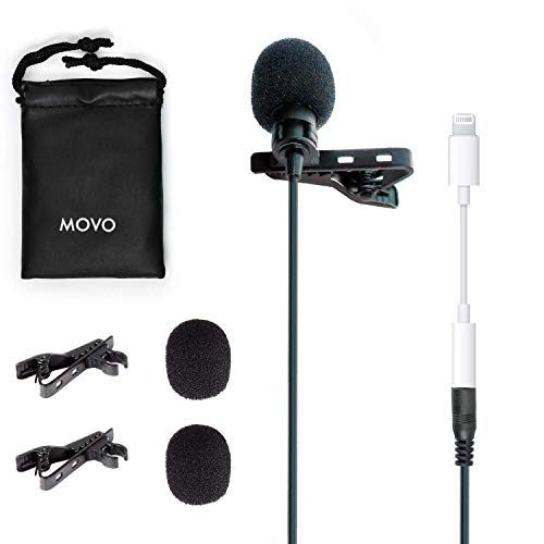 Movo PM10 Lavalier Lapel Clip-on Microphone with Lightning Dongle - Compatible with iPhone Xs, XR, X, 8, 7, 6S, 6, 5S, 5, iPad, iPod, Other Devices - for Recording Podcast, Vlog, Interview, YouTube