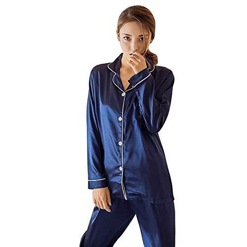 Redondo De Largos Blau Elegante Primavera Hogar Larga Casual Cuello El Pijamas Camison Manga Ropa Pijama Dormir Mujer Conjunto Otoño Impreso Pantalones Para Moda XwPnfq