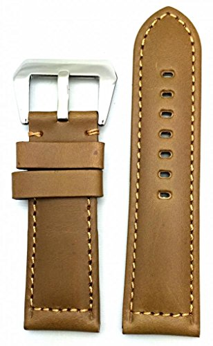 26mm Brown, Panerai Style, Smooth Leather Watch Band
