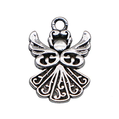 JETEHO 40 pcs Angel Metal Charms Angel Charms for Jewelry Making Bulk Ornaments (Silver) -