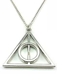 Deathly Hallows Silver Color Pendant Chain Necklace Harry Potter Inspired