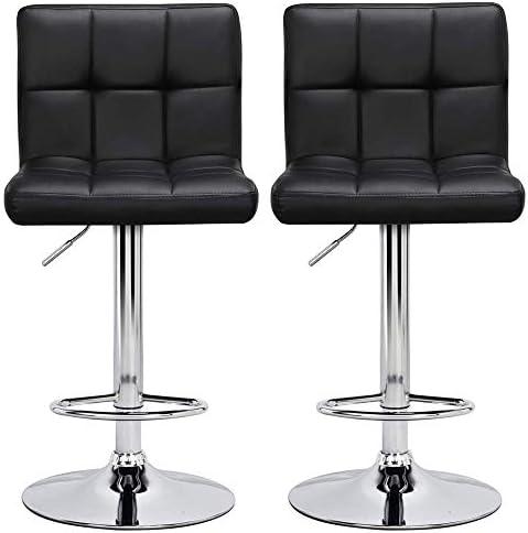 Yaheetech Modern PU Leather Adjustable Hydraulic Barstool Chairs