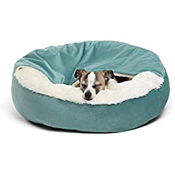 Best Friends by Sheri Cozy Cuddler, Tidepool - Luxury Dog and Cat Bed with Blanket for Warmth and Security - Offers Head, Neck and Joint Support - Machine Washable