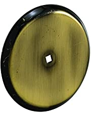 Prime-Line Products MP9201 Cabinet Knob Backplate, 2-13/16 in. Outside Diameter, Stamped Steel, Antique Brass Finish, Pack of 5