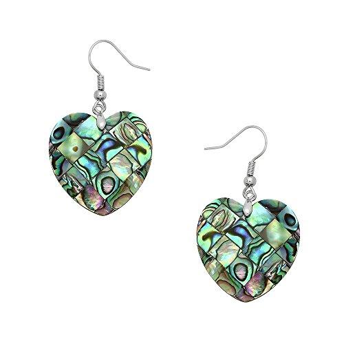 Liavy's Heart Fashionable Earrings - Fish Hook - Abalone Paua Shell - Unique Gift and ()