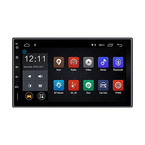 Lexxson Android Car Radio Stereo 2Din 7 inch Capacitive Touch Screen GPS Navigation Compatible OBD TPMS Wireless USB SD Mirro Link Player 1G DDR3 + 16G NAND Memory Flash CT0009L