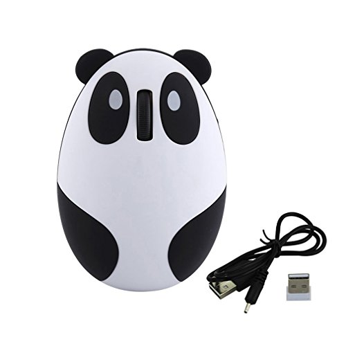 Novelty Cute 2.4Ghz Wireless Mouse Cartoon Animal Panda Shaped Rechargeable Optical Mini Small Mice for PC Laptop Computer(Black and White)