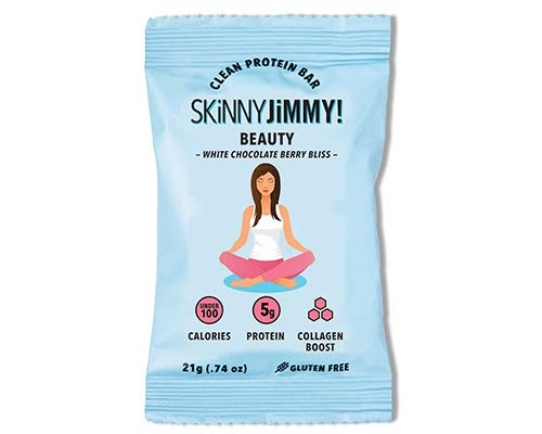 Skinny Jimmy Beauty Bar with Collagen, White Chocolate Berry Bliss, Under 100 Calories Mini Protein Bar, 24 Count, Packaging May Vary