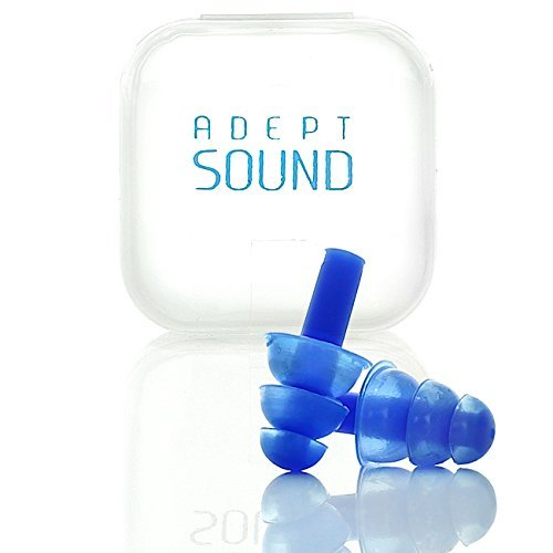 (Adept Sound Ear Plugs (Blue) Noise Cancelling For Sleeping, Concerts, Music Events, Shooting Range, Construction Work, Reusable Soft Hypoallergenic Silicone Material, Comfortable)