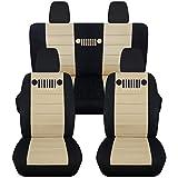 Totally Covers Fits 2011-2018 Jeep Wrangler JK Seat Covers: Black & Sand - Full Set: Front & Rear (23 Colors) 2012 2013 2014 2015 2016 2017 2-Door/4-Door Complete Back Solid/Split Bench