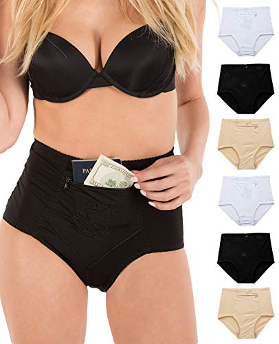 (Barbra's 6 Pack Women's Travel Pocket Girdle Brief Panties S-4XL (L))