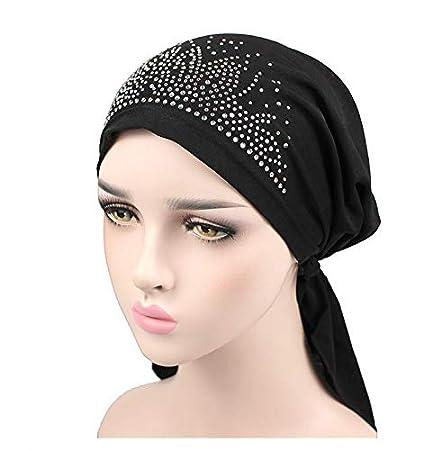 jieGREAT Women Fashion Sold Diamond Elasticity Scarf Head Cap India Muslim Hat Chemo Cap