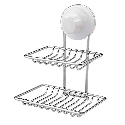 WRMR Soap Dish Double Layers Stainless Steel Easy Installation - No Nail No Drilling soap Holder for Shower & Kitchen