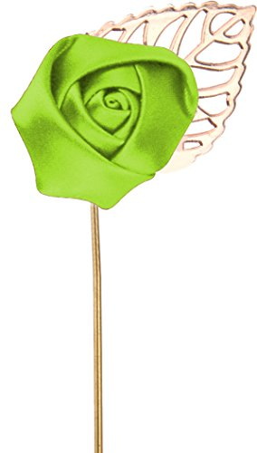 Flairs New York Gentleman's Essentials Premium Handmade Flower Lapel Pin Boutonniere (Pack of 1 Pin, Lime Green [Small Rose Gold Leaf])]()