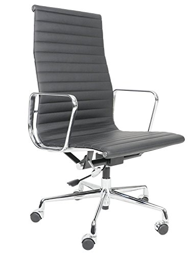 MLF Modern High-Back Office Ribbed Chair Replica(Multi Colors Available), Swivel Managerial Chair with Arm Rest, Tilt Adjustable Seat, Premium Black Aniline ()