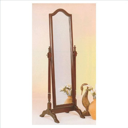 18th Century Cherry Finish - 18th Century Traditional Standing Floor Mirror With Metal Accents In Cherry Wood Finish. (Item# Vista Furniture CF3103)