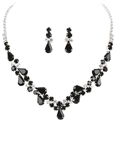 "Crystal Avenue Elegant Clear & Opaque Black Rhinestone Teardrop Bib Statement Necklace, 14"" with Post-Back Drop Earrings ()"