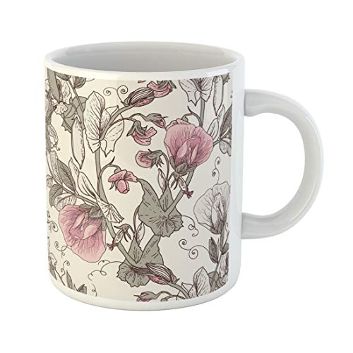 Semtomn Funny Coffee Mug Pink Sweet Floral Blooming Peas the in Vintage Flower 11 Oz Ceramic Coffee Mugs Tea Cup Best Gift Or Souvenir