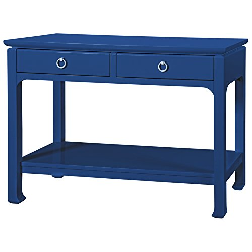 Kathy Kuo Home Bruna Modern Classic Blue Lacquer Chinoiserie Console Table