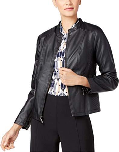 (Alfani.. Women's Jacket Petite Faux-Leather Deep Black, PL )