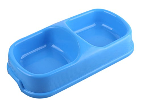 Freerun Pet Feeder Drink Water Food Bowl Bowl For Dog, Double Diner Pet Bowl, Safe PP Resin (Blue, - Plans Mall White