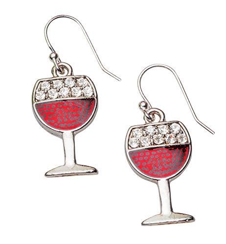 Dangle Earrings - Red Wine Glass Earrings; French Wire Backs