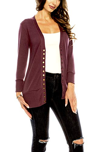 - Women's V Neck Cardigan Snap Button 3/4 Sleeve Sweater with Ribbed Detail Collection Plus Size [S-3X] DK Rust 2X Large Plus