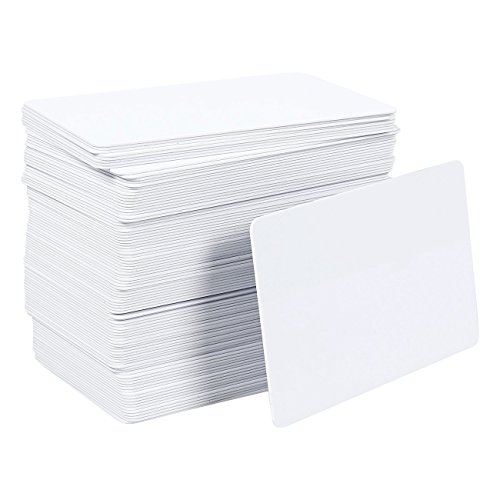 PVC Blank Cards Pack - 100 Pieces Graphic Quality White ID Plastic Cards for Photo - Credit Photo Card Paper