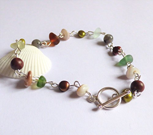 Polished Toggle (Sea Glass, Freshwater Pearl, Larkevite, Polished Shell and Jasper Bracelet with Sterling Silver Toggle Clasp B170092)