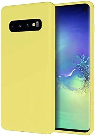 Samsung Galaxy S10ケースFHXD柔軟TPU液体シリコン保護ケース擦り傷防止耐衝撃指紋防止ケース(イエロー)