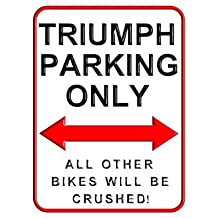 Triumph Parking Only Funny Parking Signs 8 x 12 inch Yard Decorative Signs for Outdoors Home Metal Motorcycle Parking Wall Sign