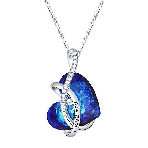 Wuziwen Ocean Blue Crystals Heart Pendant Necklace I Love You 925 Sterling Silver Jewelry for Women