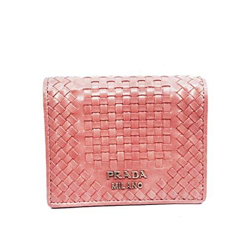 Prada Pink Portafoglio Verticale Bruyere Madras Textured Leather Wallet ()
