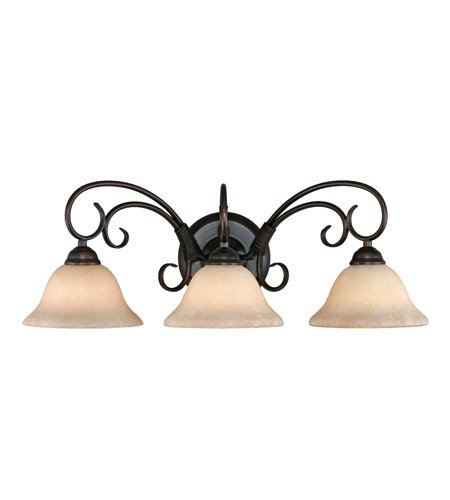 Golden Lighting 8603 RBZ Homestead Three Light Vanity, Rubbed Bronze Finish