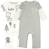 Baby Boy Baby Girl Romper Set, 2-Pack Rompers with Long & Short Sleeves