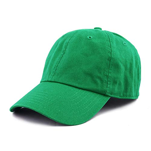(The Hat Depot 300N Washed Low Profile Cotton and Denim Baseball Cap (Kelly Green))