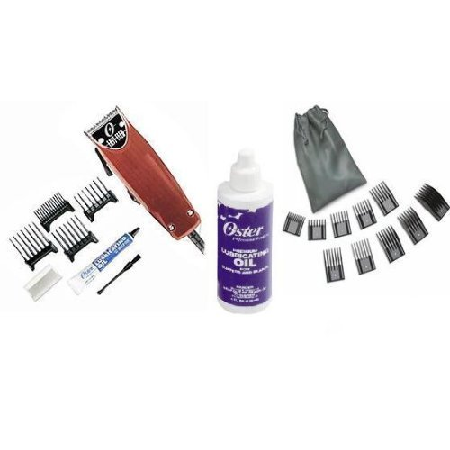 Ounce Clipper 4 (Oster Professional 76023-510 Fast Feed Clipper with Adjustable Blade + 4oz of blade oil + 10 piece universal oster comb set)