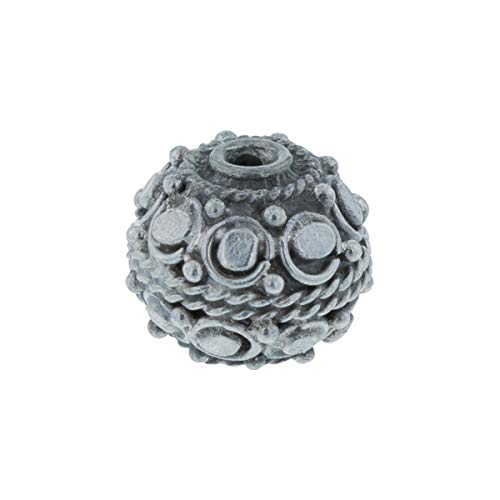 WireJewelry Handmade Sterling Silver Authentic Bali Bead - Antiqued Round Ornate Dots, Pack of 1