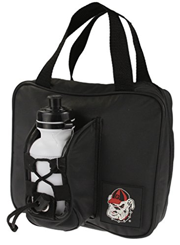 Ncaa Bag Insulated Lunch (Georgia Bulldogs NCAA Insulated Lunch Bag with Reusable Water Bottle, Black)