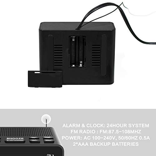 Clock Radio, Plug in Digital AM FM Alarm Clock Radio for Bedrooms or Guestroom