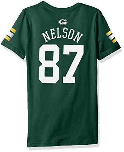 NFL Girls 7-16 Jordy Nelson Green Bay Packers Main Stripes V-Neck Player Name & Number Short Sleeve Tee, Hunter, ()
