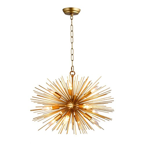 - Decomust 24 Inch Astra Sputnik Satellite Pendant Light Chandelier Plated Gold Ceiling Light Fixture