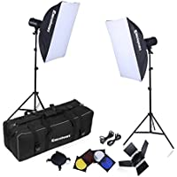 Excelvan CP-C002 500W Strobe Studio Photography Photo Flash Light Kit with Strobes + Barn Doors + Light Stands + Triggers + Soft Box