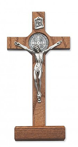 Religious Gifts Walnut Stained St. Benedict Crucifix Wall Decor Christian Catholic Cross, 8 – Inch